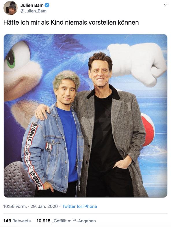 Sonic Film Premiere - Julien Bam & Jim Carrey